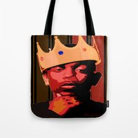 kendrick lamar Tote Bags featuring King Kendrick by UnifiedGlory