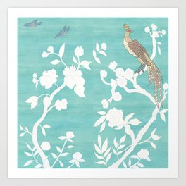Chinoiserie Panels 3-4 White Scene on Teal Raw Silk - Casart Scenoiserie Collection Art Print
