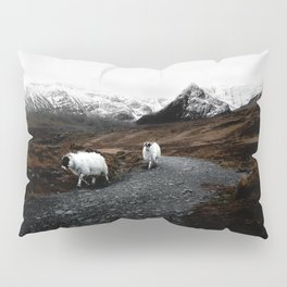 SHEEP - MOUNTAINS - SNOW - ROAD - PHOTOGRAPHY - FUNNY Pillow Sham