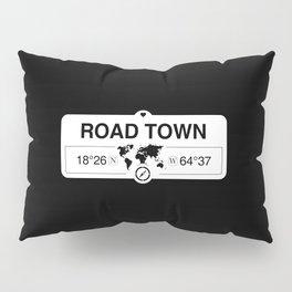 Road Town British Virgin Islands GPS Coordinates Pillow Sham