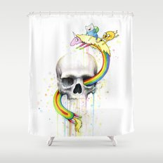 Adventure through Time and Face Shower Curtain