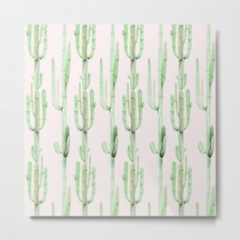Green and Coral Pink Cactus Stack Pattern Metal Print