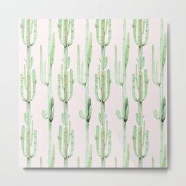 Green and Coral Pink Cactus Stack Pattern Metal Print