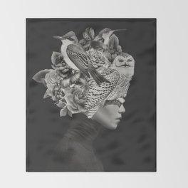 Lady with Birds(portrait) Throw Blanket
