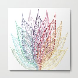 Colourful Layered Leaves Blue Purple Red Yellow Metal Print
