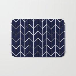 Chevron pattern -  white on darkblue Bath Mat