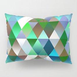 Bright Colorful Funky Retro Triangles Polygon Mosaic Pattern Pillow Sham