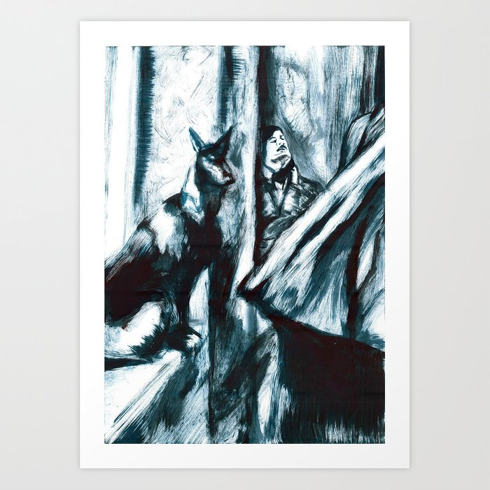 Andrei Tarkovsky and the Black Dog Art Print