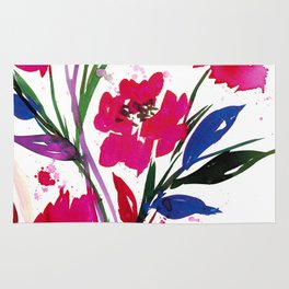 POCKETFUL OF POSIES 1, Colorful Summer Watercolor Floral Painting Abstract Red Blue Pink Flowers Art Rug