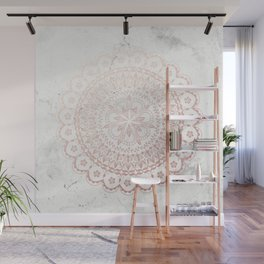 Rose gold mandala and grey marble Wall Mural