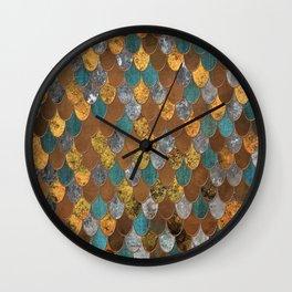 Rusty Ocean Golden Mermaid Scales HJYLE Wall Clock