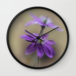 Pretty blooming Hepatica Wall Clock
