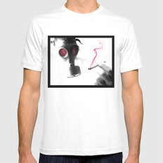 SMOKE MEDIUM White Mens Fitted Tee