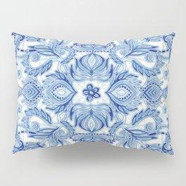 Pattern in Denim Blues on White Pillow Sham