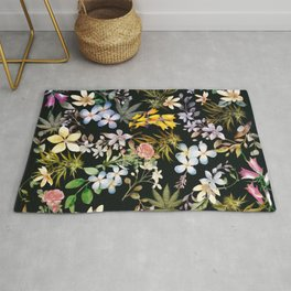 Flowers with Hidden Pot Leaves Rug
