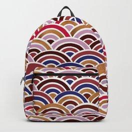 Japanese Seigaiha Wave – Mauve & Gold Palette Backpack