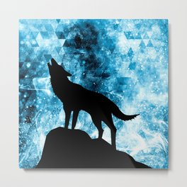 Howling Winter Wolf snowy blue smoke Metal Print