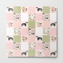 Australian Shepherd Patchwork - purple floral, flowers, dog, dogs, aussie dog, cute dogs, dog blanke Metal Print