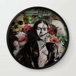 Frida Kahlo skulls and flowers Wall Clock