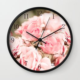 Vintage roses bouquet sepia toned flowers Wall Clock