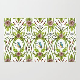 Common Kingfisher, Water Lilies, Dragonflies & Cattails Pattern Rug