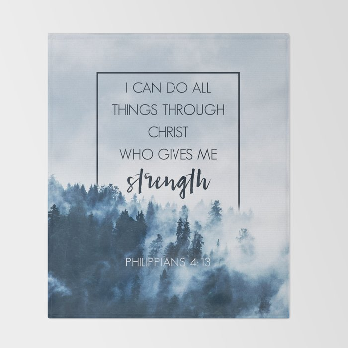Forest Philippians 4:13 Throw Blanket