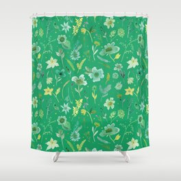 Verdant Flowers on Emerald Background Shower Curtain