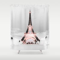 blankets Shower Curtains featuring pariS Black & White + Pink by 2sweet4words Designs