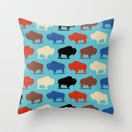 Colorful Buffalo Bison Pattern 279 Throw Pillow