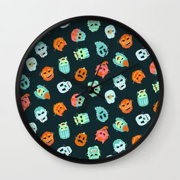 Halloween Mask Pattern Wall Clock