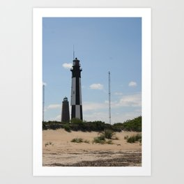 Short And Tall Cape Henry Lights Art Print
