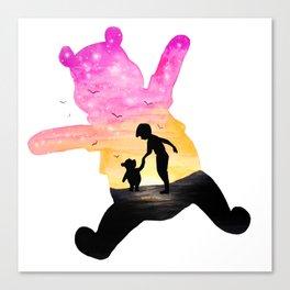 Winnie The Pooh Double Exposure Canvas Print
