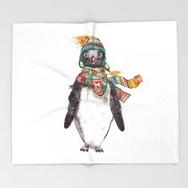 Penguin in a scarf (male) Throw Blanket