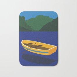 Boat On The Mountain Lake Bath Mat