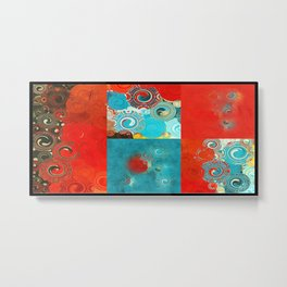 Swirly Red and Turquoise Mosaic Metal Print