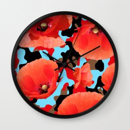 Poppie Camouflage Red Blue -Living Hell Wall Clock