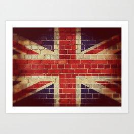 Vintage UK flag on a brick wall Art Print
