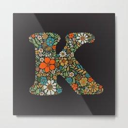 Hippie Floral Letter K Metal Print