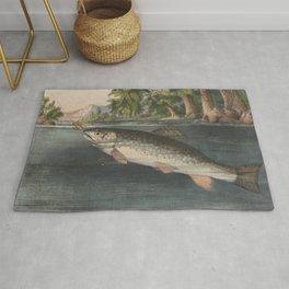 Vintage River Fishing Illustration (1874) Rug