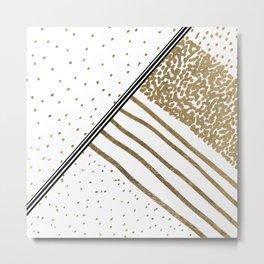 Geometrical white faux gold black stripes polka dots Metal Print