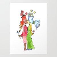lesbian flower women kiss Art Print