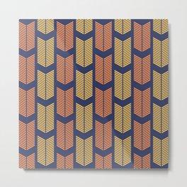 Blue, Orange & Yellow Arrow Pattern  Metal Print