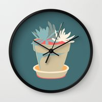 succulent Wall Clocks featuring Succulent by Rabbits In The Sky