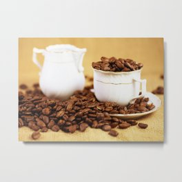 Creamer coffee cup coffee beans kitchen image 2 Metal Print