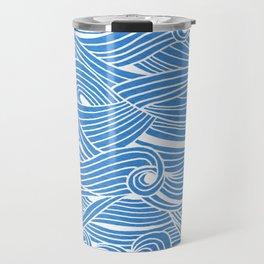 Water Drop – White Ink on Blue Travel Mug
