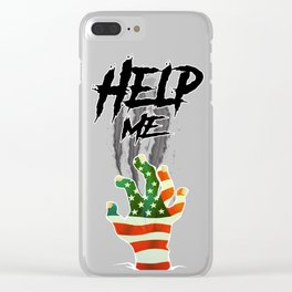 """HELP ME"" American Flag Zombie/scary Movie Gag Gift funny Clear iPhone Case"