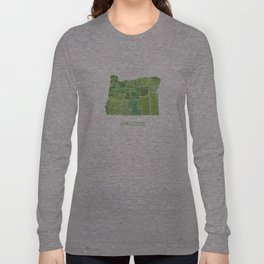 Oregon Counties watercolor map Long Sleeve T-shirt