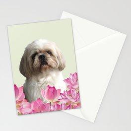 Paul Top Model - Shih tzu Dog - Lotos Flowers  Stationery Cards