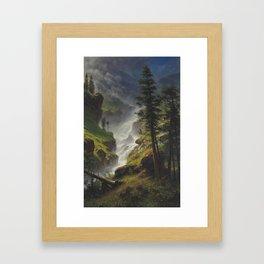 ALBERT BIERSTADT · landscape Rocky Mountain Waterfall 1898 Framed Art Print