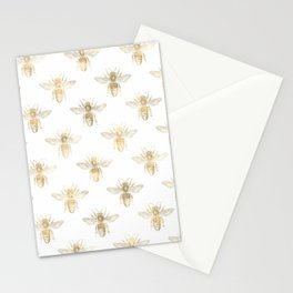 Chic Gold and White Bee Patten Stationery Cards
